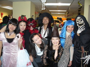 ILI students in costumes at the Halloween party in